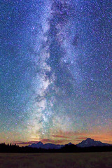 "Milky Way over Tetons (IronRodArt - Royce Bair (""Star Shooter"")) Tags: park blue sunset sky panorama nature silhouette mystery night dark way stars dawn evening bravo shiny long exposure heaven glow shine view angle time dusk infinity space horizon wide deep grand twinkle astro fisheye sparkle galaxy national astrophotography planet astronomy grandtetons teton universe exploration milky cosmic starry cosmos astrology distant milkyway starlight grandtetonnationalpark starrynightsky"