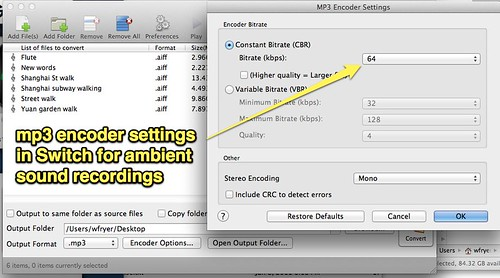MP3 Encoder Settings - Ambient Sound