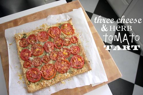 three cheese herb tomato tart