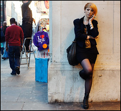 I  Oxford Street (jonron239) Tags: london girl pose phone boots candid tights frown oxfordstreet shortskirt streetfashion streetstyle shortjacket