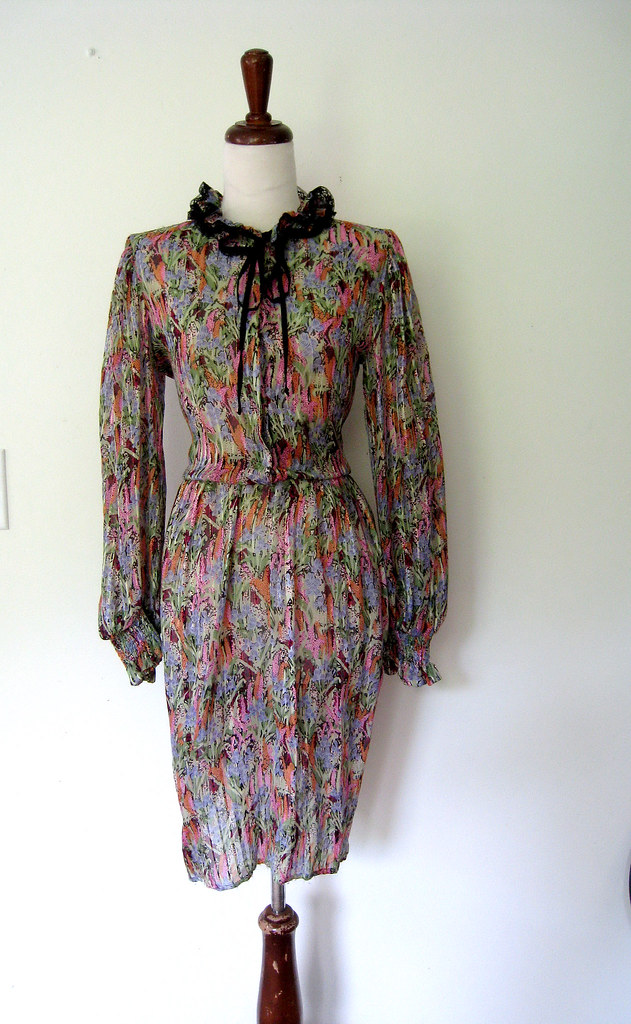 Ruffle Collar Sheer Silk Dress, vintage 1980s
