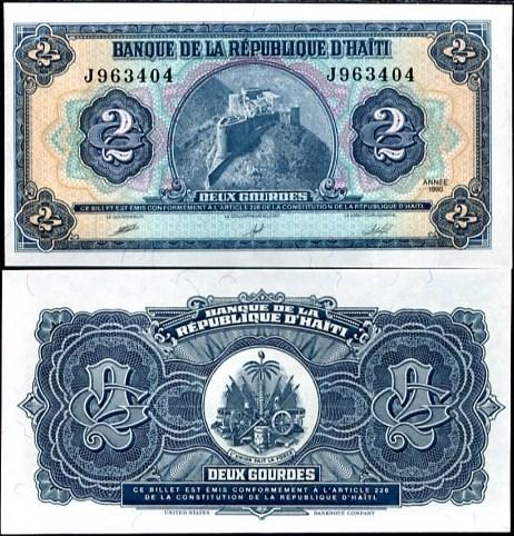 2 Gourdes Haiti 1990, Pick 254