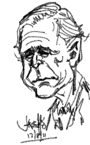 test drive HTC Flyer with George Bush caricature