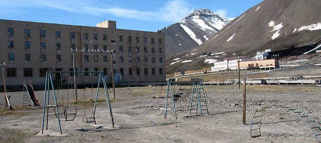 Sea gulls have taken over the playground at Pyramiden, an Arctic ghost town on Spitsbergen in the Svalbard Archipelago, Norway.