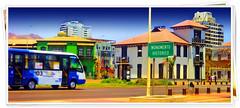 Antofagasta - Costanera edificios históricos y microbús desenfocado Panorámica (Victorddt) Tags: chile edificios sonycybershot costanera antofagasta panorámica