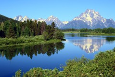 Majestic Vista at Oxbow (PelicanPete) Tags: morning summer snow mountains west reflection nature beauty sunrise colorful forsale unitedstates natural scenic pelican jackson snakeriver wyoming vistas grandtetons peaks mountainrange gettyimage artisticphotos deepbluesky oxbowbend supershot tetonnationalpark supershotsgroup march2012 onlythebestofnature 2ndplacecompetitionwinner fourpelicans tmigroup 3rdplacecompetitionwinner june2016