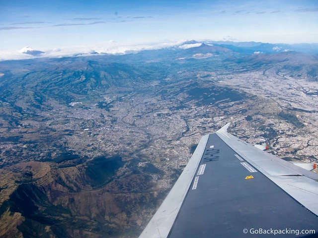 Preparing to land in Quito, Ecaudor with Cotopaxi in the distance.