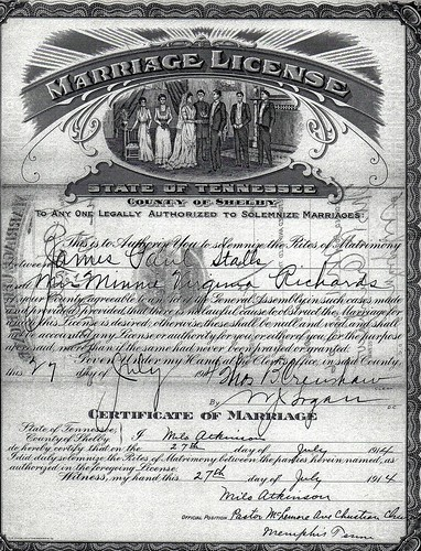 Minnie virginia Richards and James Paul Stalls, Sr Marriage License