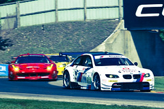 BMW #56 in front of Pack at Road America Turn 6 Lemans 2011 Old Film Look (chris favero) Tags: auto road motion blur speed ferrari racing 7d bmw roadamerica gt lemans eos7d