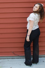 Outfit - Anthropologie wrap blouse, trouser jeans