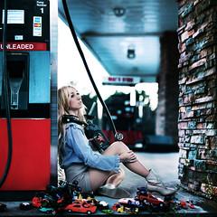 running on empty. (karrah.kobus) Tags: travel girl car stuck gasstation toycars hopeless ialsostoleallthesecarsfrommylittlebrothertodayandluckilyformehewasoccupiedwithothergamesanddidntnoticeillneedtogetthembackasapinthemorningorimgoingtogetmybuttkicked