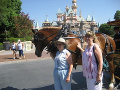 Grandma and Jenny pose with a horse