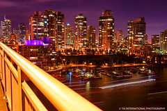 Vancouver in Violet (TIA International Photography) Tags: park city bridge light summer sky urban canada water vancouver sailboat creek marina buildings tia landscape real evening bay boat george twilight sailing ship cityscape bc estate apartment skyscrapers purple yacht dusk granville violet trails rail august vessel columbia condo yaletown sail metropolis british streams condominium false wainborn tosin arasi tiascapes tiainternationalphotography