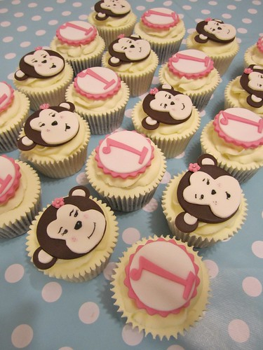monkey cupcakes side on  by Mrs Baker's Cakes