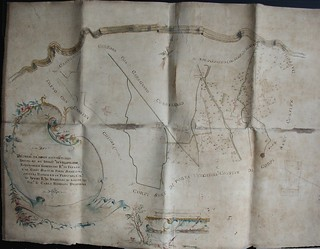 """""""Mappa dei fondi sottoposti alla decima nei territori di Villapizzone, [...] del signor d. Carlo Federico Delfinone"""" del 1769"""