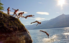 Moriah Cliff Sequence (Thomas Bullock) Tags: summer cliff lake water swimming photoshop canon photo jumping shot diving combine multiple summertime sequence merge photgraphy t2i