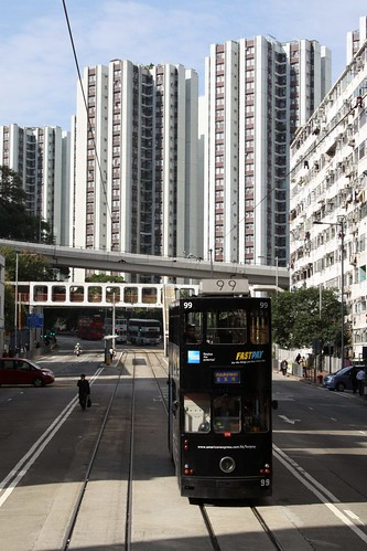 Passing Hong Kong tram #99 at Sai Wan Ho