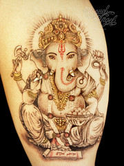 Ganesh custom tattoo (5.5 inches) (Miguel Angel tattoo) Tags: black color colour detail london miguel tattoo religious grey hands hand arm symbol indian traditional praying fine style halo tattoos fantasy ganesh freehand custom delicate realism detailed maik religius blackandgreytattoo miguelangeltattoo