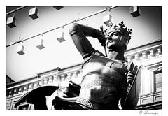Il Conte Verde (smenega) Tags: italien bw italy verde statue night torino san italia carlo piazza nebbia tonight turin castello notte piazzasancarlo conte
