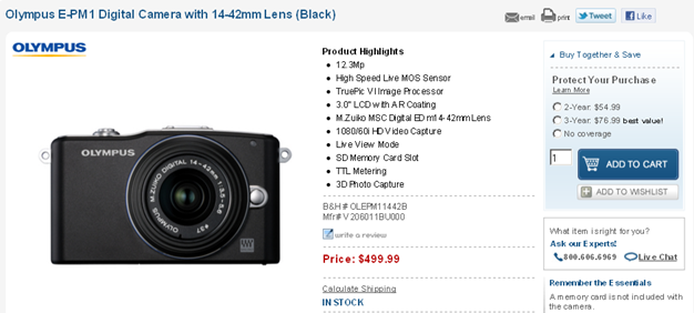 Olympus E-PM1 Kit In Stock for $499 at B&H