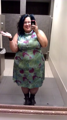 Me, in a vintage dress, making a silly happy face