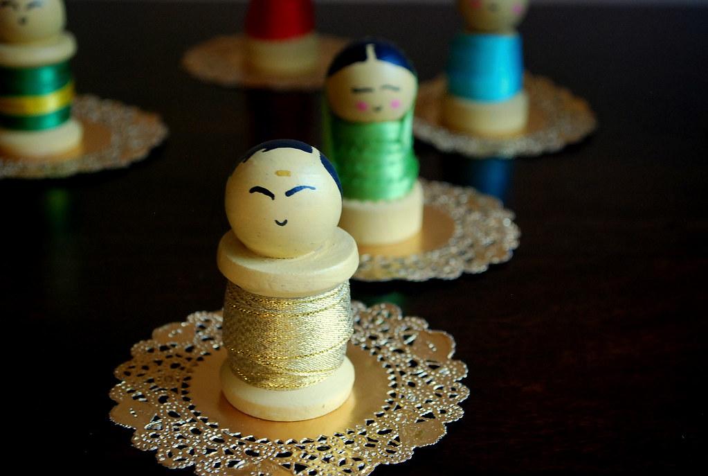 Decorating ideas ~ 3 Handmade Ethnic Wooden spool dolls ~ Hari , Mumtaz , Sam , Kamini & Jagathamami.