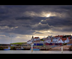 St Monans Harbour (Kit Downey) Tags: uk sea summer sun seascape storm water st clouds canon landscape boats eos rebel harbor scotland fishing village harbour fife scottish august east beam forth kit firth downey monans neuk 550d t2i