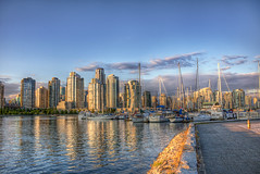 False Creek Harbour (Basedigital Images (Away...)) Tags: sunset sky canada water beautiful architecture vancouver clouds canon buildings reflections harbor bc waterfront skyscrapers harbour britishcolumbia sigma seawall yaletown falsecreek 1020mm hdr highdynamicrange fairview hdri sigma1020mm photomatix highdynamicrangeimaging t1i canont1i basedigital