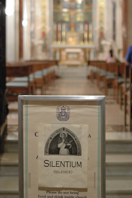 "Cathedral Basilica of Saint Louis, in Saint Louis, Missouri, USA - sign ""silentium"" at the Blessed Sacrament Chapel"