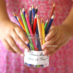 Back to school (Isabel Pava) Tags: pink colors pencils hands getty claudia backtoschool vueltaalcole gettyimages gettyimagesiberiaportrait
