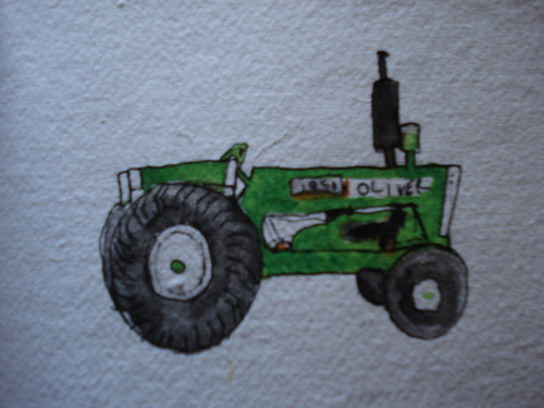 Watercolor of an Oliver tractor