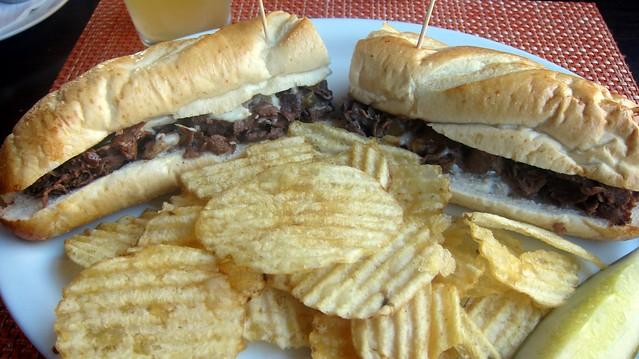 cheesesteak plate at slack's restaurant