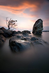 new beginning (Jazpar) Tags: longexposure trees color work landscapes singapore rocks seascapes bank goldenhour waterscapes newbeginning changibeach nd110 leefilters