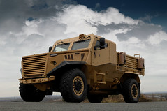 Force Protection Ocelot Utility Variant fitted with a Marshall Loadbed