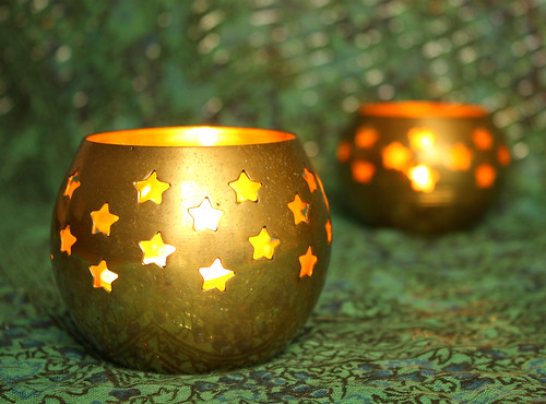 Candle holders with bokeh by Helen in Wales