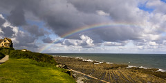 Rainbow (Explored) (ChrisDale) Tags: sea house clouds coast rainbow angle path tide wide wideangle devon exeter ho westward bideford
