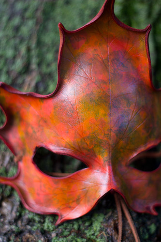 Autumn Colors Handmade Leather Maple Leaf Mask