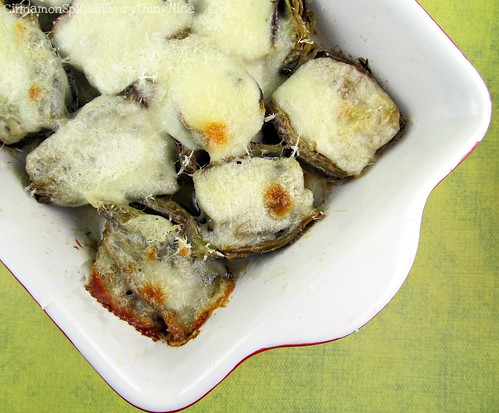 Buttery Baked Artichokes with Mozzarella
