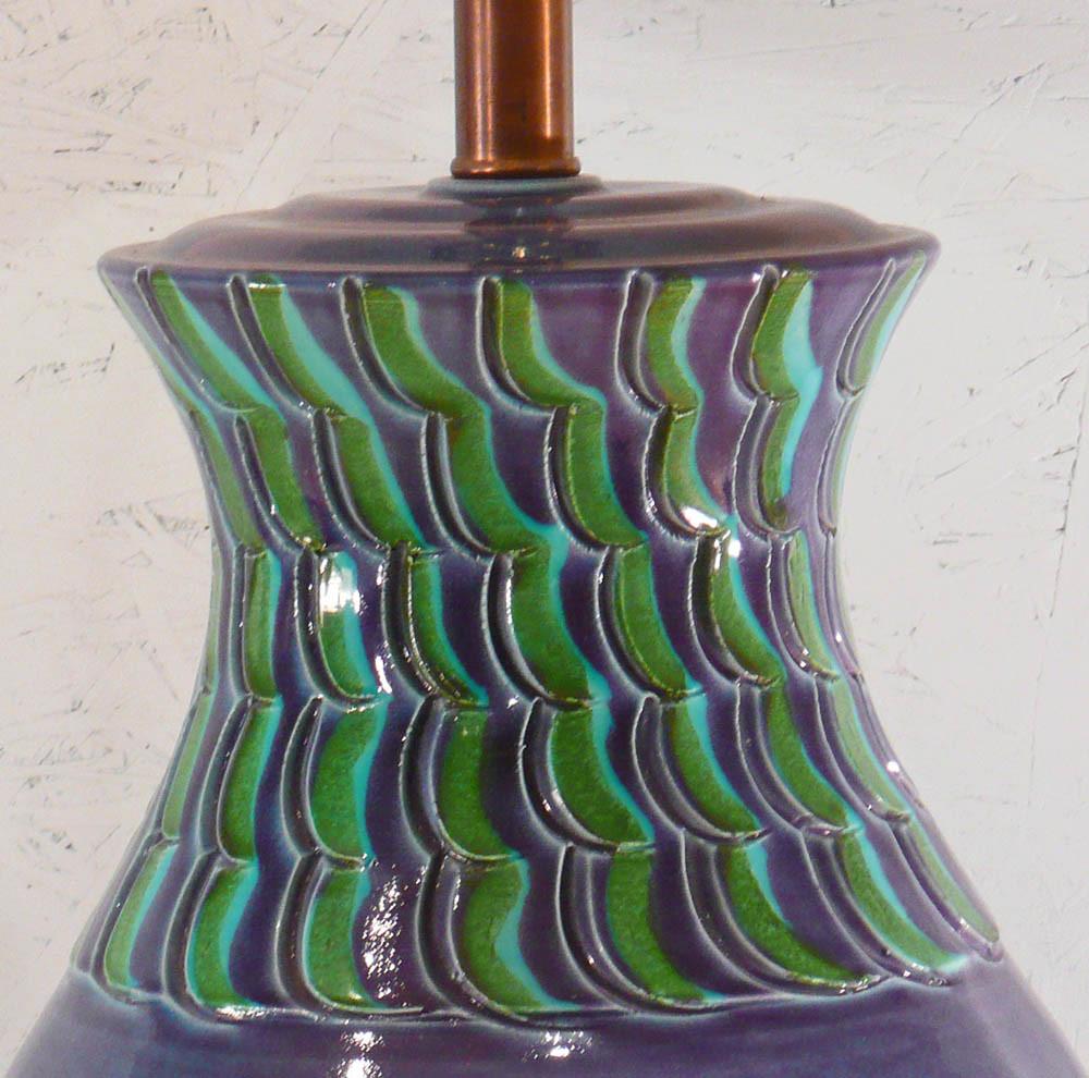 Vintage Bitossi Pottery Table Lamp - Mediterranean Blue Italian Ceramic