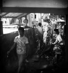 Pasar Ikan - Alley (F1etch) Tags: street blackandwhite bw white david black monochrome dave indonesia fletcher candid streetphotography jakarta adobe software nik monochrom kelapa lightroom fletch sunda davidfletcher f1etch