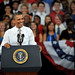 President Barack Obama laughs during his speech in Reynolds Coliseum.
