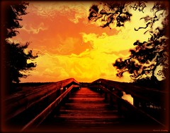 Knocking on Heaven's Door (Chris C. Crowley- grieving and recovering) Tags: wood bridge trees red sky orange leaves coral landscape gold scenic pines fantasy walkway manipulatedimage knockingonheavensdoor chriscrowley sprucecreekpark celticsong22 monochromaticwithfilter