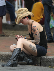 2011 LAAFF 148 (anoldent) Tags: street portrait festival nc boots asheville lexington candid cowgirl avenue texting 2011 canonef70200mmf28lusm laaff streetphotographycandidstreetportrait