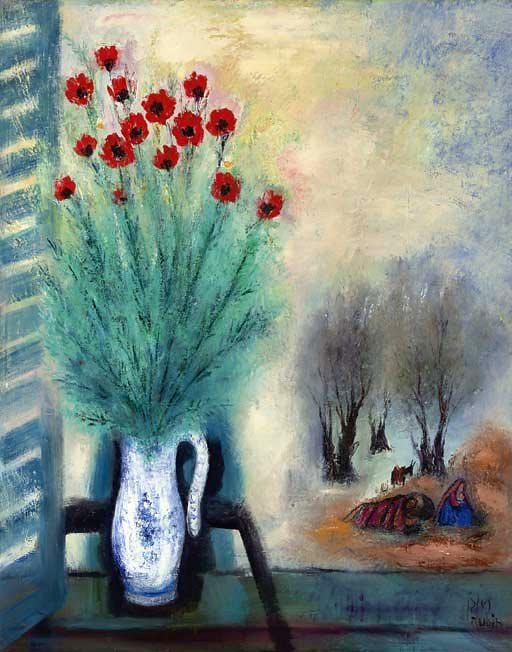 Rubin, Reuven (1893-1974) - 1960c. Bouquet of Flowers with Landscape (Christie's Tel Aviv, 2006)