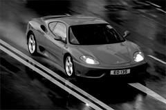 Ferrari, 360, Causeway Bay, Hong Kong (Daryl Chapman Photography) Tags: auto china blackandwhite cars wet car rain canon dark hongkong italian ferrari spray 7d pan autos panning causewaybay automobiles sar 18135mm worldcars ed135