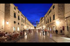 Placa - Stradun Dubrovnik (During the Blue Hour) (Baggers 2014) Tags: street longexposure blue light summer people blur night town cafe shiny dusk hour bluehour dubrovnik cinescope flickrchallengegroup flickrchallengewinner placastradun