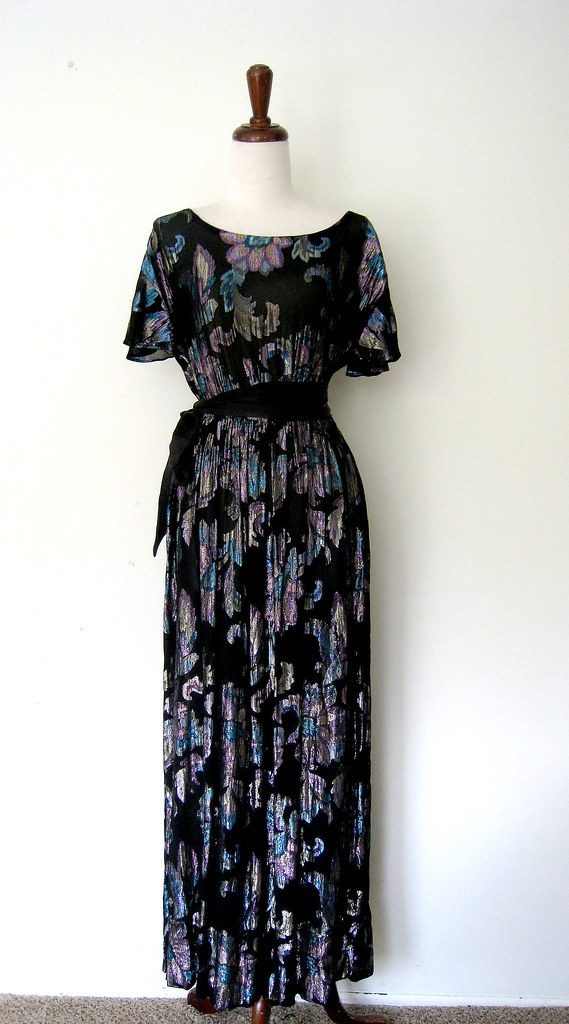 Glistening Flowers Sheer Black Flutter Sleeve Dress, vintage 1980s