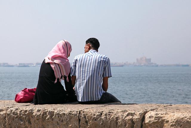 エジプト、アレキサンドリアのカップル