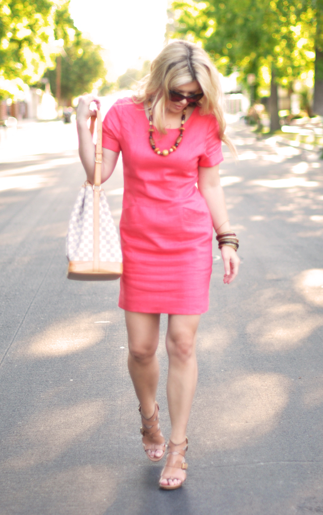 vintage linen coral dress with neutral accessories