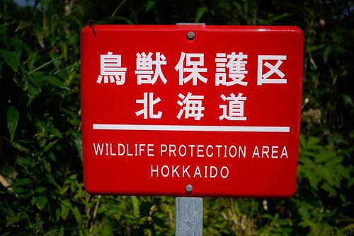Wildlife protection sign near Niseko, Hokkaido, Japan
